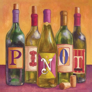 Portfolio Canvas Decor Geoff Allen 'Bottles Pinot' 16x16 Framed Canvas Wall Art (Set of 2)