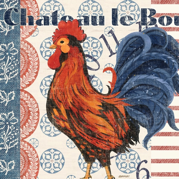 Portfolio Canvas Decor Jennifer Brinley 'Bon Rooster 3' 16x16 Framed Canvas Wall Art (Set of 2)