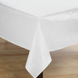 Premium Quality Oblong White Flannelback 52x70 Vinyl Tablecoth