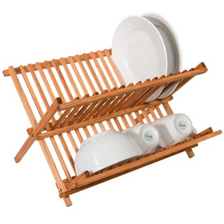 Sweet Home Collection All Natural Foldable Bamboo Dish Rack/Drainer