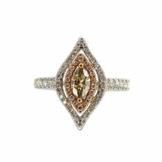 Kabella Luxe 18k Two-tone Gold 3/4ct TDW Brown and White Marquise Diamond Ring (G-H, SI1-SI2) (Size 6)