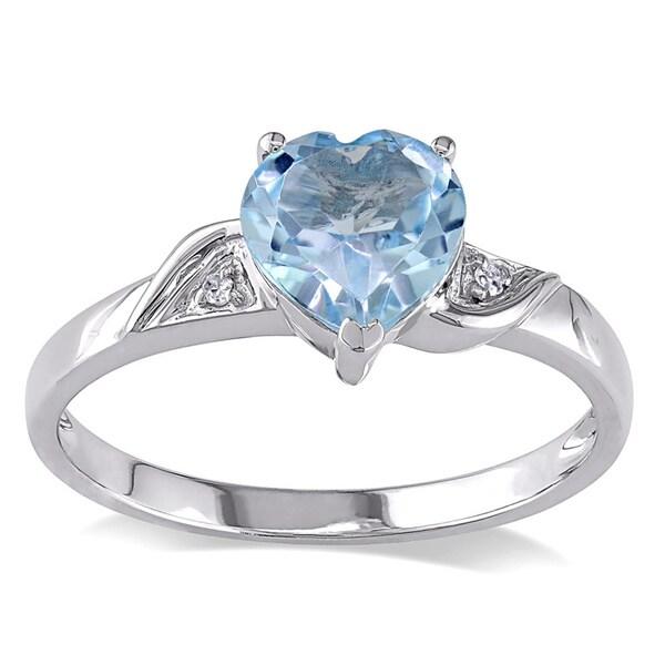 Miadora 10k White Gold Diamond Blue Topaz Ring