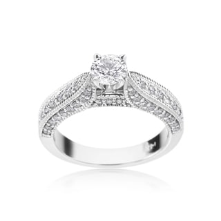 SummerRose 14k White Gold 1ct TDW Diamond Antique Style Engagement Ring (H-I, SI1-SI2)