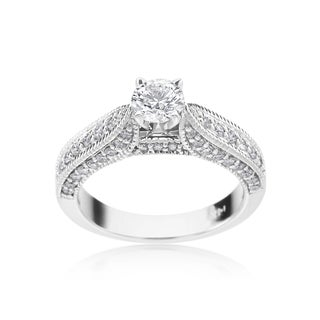 SummerRose 14k White Gold 1ct TDW Diamond Antique Style Engagement Ring