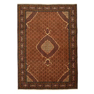 Hand-knotted Wool Brown Traditional Oriental Ardebil Rug (6'7 x 9'5)