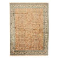 Hand-knotted Silk Peach Traditional Oriental Tabriz Rug (8'1 x 11'11)