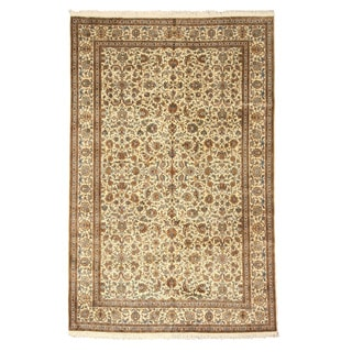 EORC Hand Knotted silk Ivory Tabriz Rug (6' x 9'2)