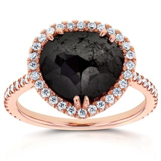 Annello by Kobelli 14k Rose Gold 3 2/5ct TDW Pear Shape Black and White Diamond Ring (G-H