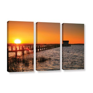 ArtWall Steve Ainsworth 'House At The End Of The Pier' 3 Piece Gallery-wrapped Canvas Set