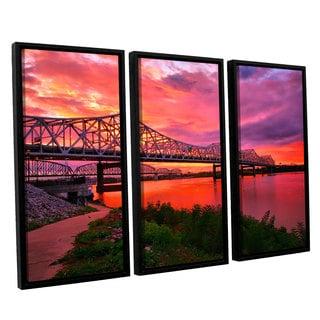 ArtWall Steve Ainsworth 'Bridges At Sunrise' 3 Piece Floater Framed Canvas Set