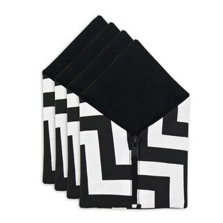 Zig Zag Duck Black Table Setting with Zipper Closure (Set of 4)
