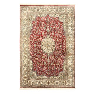 EORC Hand Knotted silk Red Tabriz Rug (5'6 x 8'3)