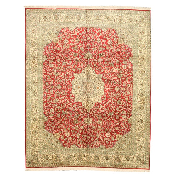 Hand-knotted Silk Red Traditional Oriental Tabriz Rug - 8'2 x 10'2