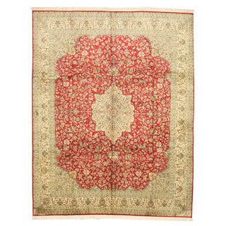 EORC Hand Knotted Silk Red Tabriz Rug (8'2 x 10'2)