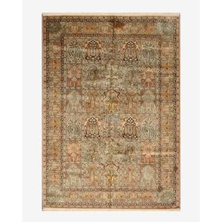 Hand-knotted Silk Peach Traditional Oriental Tabriz Rug (6'1 x 8'8)