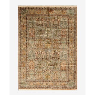 Hand-knotted Silk Peach Traditional Oriental Tabriz Rug (6'1 x 8'8) - 6'1 x 8'8