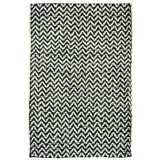 Kosas Home Zig Herringbone Black/ Off-white Rug (4' x 6')