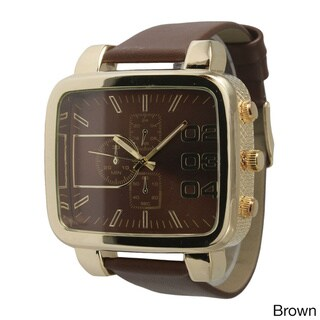 Olivia Pratt Men's Rounded Rectangular Dial Leather Watch