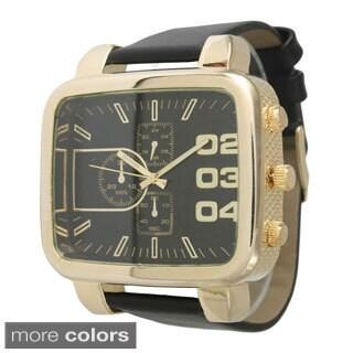 Olivia Pratt Men's Rounded Rectangular Dial Leather Watch