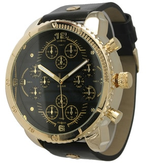 Link to Olivia Pratt Men's Round Tachymeter Leather Watch Similar Items in Men's Watches