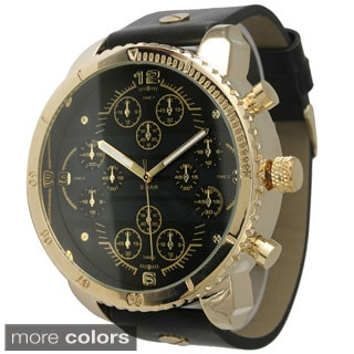 Olivia Pratt Men's Round Tachymeter Leather Watch