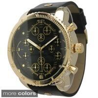 Olivia Pratt Men's Round Tachymeter Leather Watch