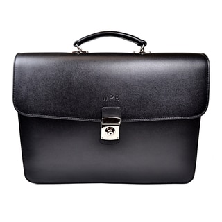Royce Leather Saffiano Leather Luxury Double Gusset 14-inch Laptop Briefcase