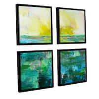 ArtWall Allan Friedlander 'Morning Dew' 4 Piece Floater Framed Canvas Square Set