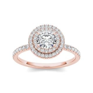 De Couer 14k Rose Gold 1ct TDW Diamond Double Halo Engagement Ring (H-I, I2)