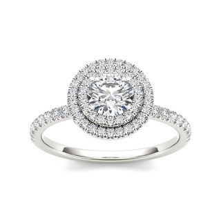 De Couer 14k White Gold 1ct TDW Diamond Double Halo Engagement Ring (H-I, I2)