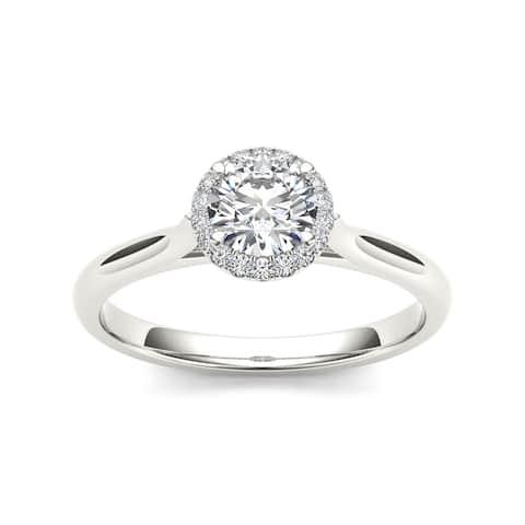 De Couer 14k White Gold 1/2ct TDW Diamond Halo Engagement Ring