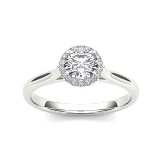 De Couer 14k White Gold 1/2ct TDW Diamond Halo Engagement Ring - White H-I