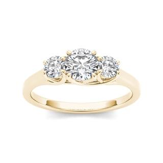 De Couer 14k Yellow Gold 1ct TDW Diamond Three-Stone Anniversary Ring