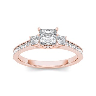 De Couer 14k Rose Gold 1 1/4ct TDW Diamond Three-Stone Anniversary Ring