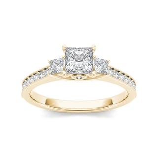 De Couer 14k Yellow Gold 1 1/4ct TDW Diamond Three-Stone Anniversary Ring