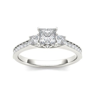 De Couer 14k White Gold 1 1/4ct TDW Diamond Three-Stone Anniversary Ring