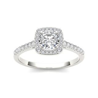 De Couer 14k White Gold 3/4ct TDW Diamond Halo Engagement Ring - White H-I