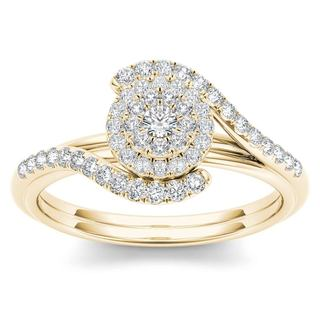 De Couer 10k Yellow Gold 2 5ct TDW Diamond Bypass Halo Engagement Ring