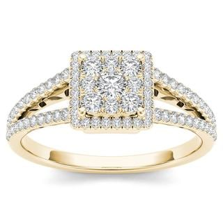 De Couer 10k Yellow Gold 1/2ct TDW Split Shank Halo Engagement Ring