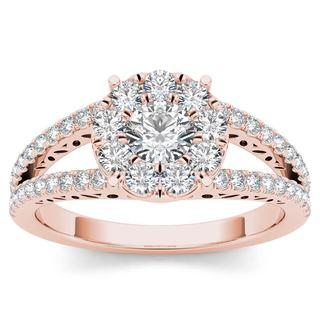 De Couer 10k Rose Gold 1ct TDW Diamond Split Shank Cluster Engagement Ring