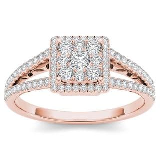 De Couer 10k Rose Gold 1/2ct TDW Split Shank Halo Engagement Ring