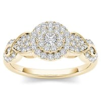 De Couer  IGI Certified 10k Yellow Gold 1/2ct Diamond Halo Engagement Ring
