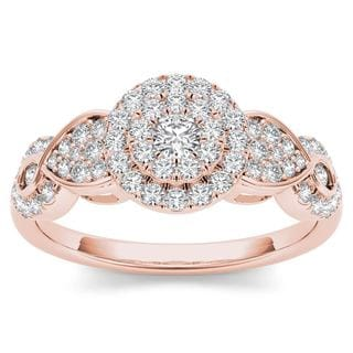 De Couer 10k Rose Gold 1/2ct Diamond Halo Engagement Ring (H-I, I2)