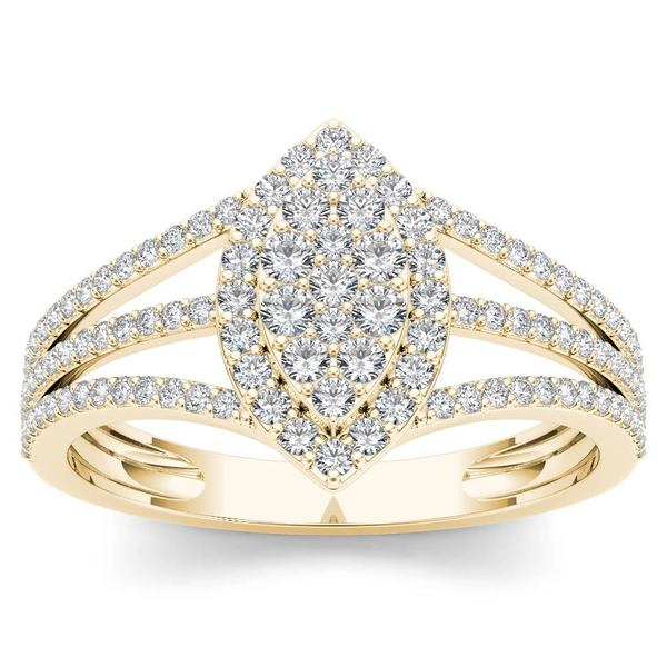 De Couer 10k Yellow Gold 1/2ct TDW Diamond Marquise-Framed Cluster Engagement Ring. Opens flyout.