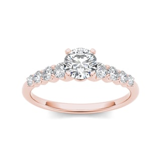 De Couer 14k Rose Gold 3/4ct TDW Classic Diamond Engagement Ring - Pink