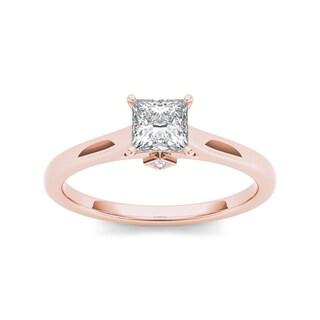 De Couer 14k Rose Gold 3/4ct TDW Classic Princess-Cut Diamond Engagement Ring