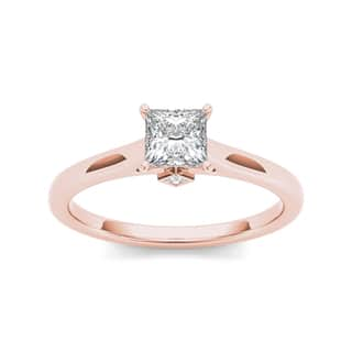 De Couer 14k Rose Gold 3/4ct TDW Classic Princess-Cut Diamond Engagement Ring - Pink (Option: 8.25)|https://ak1.ostkcdn.com/images/products/10404030/P17505642.jpg?impolicy=medium