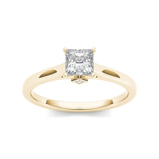 De Couer 14k Yellow Gold 3/4ct TDW Classic Princess-Cut Diamond Engagement Ring