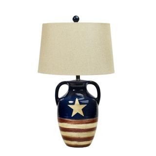 Fangio Lighting Star Spangled Banner Flag Ceramic Table Lamp