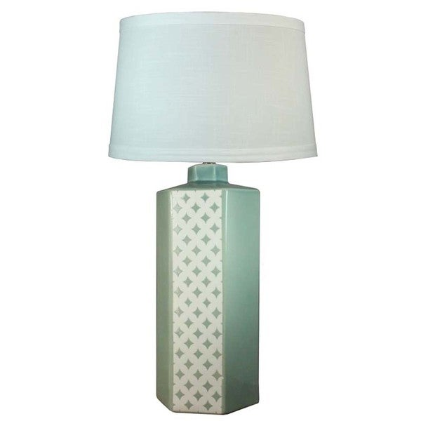 Fangio Lighting Ocean Spray Crackle with Small Diamonds 3-sided Ceramic Table Lamp